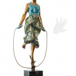 Dancer jumping the rope, original work of art by Sergio Benvenuti. Bronze sculpture for sale, Pietro Bazzanti Art Gallery, Florence, Italy