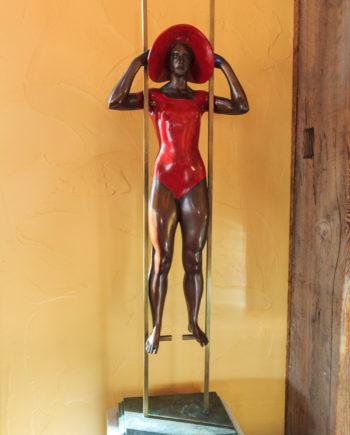 Dancer on the stilts original work of art by Sergio Benvenuti. Bronze sculpture for sale, Pietro Bazzanti Art Gallery, Florence, Italy