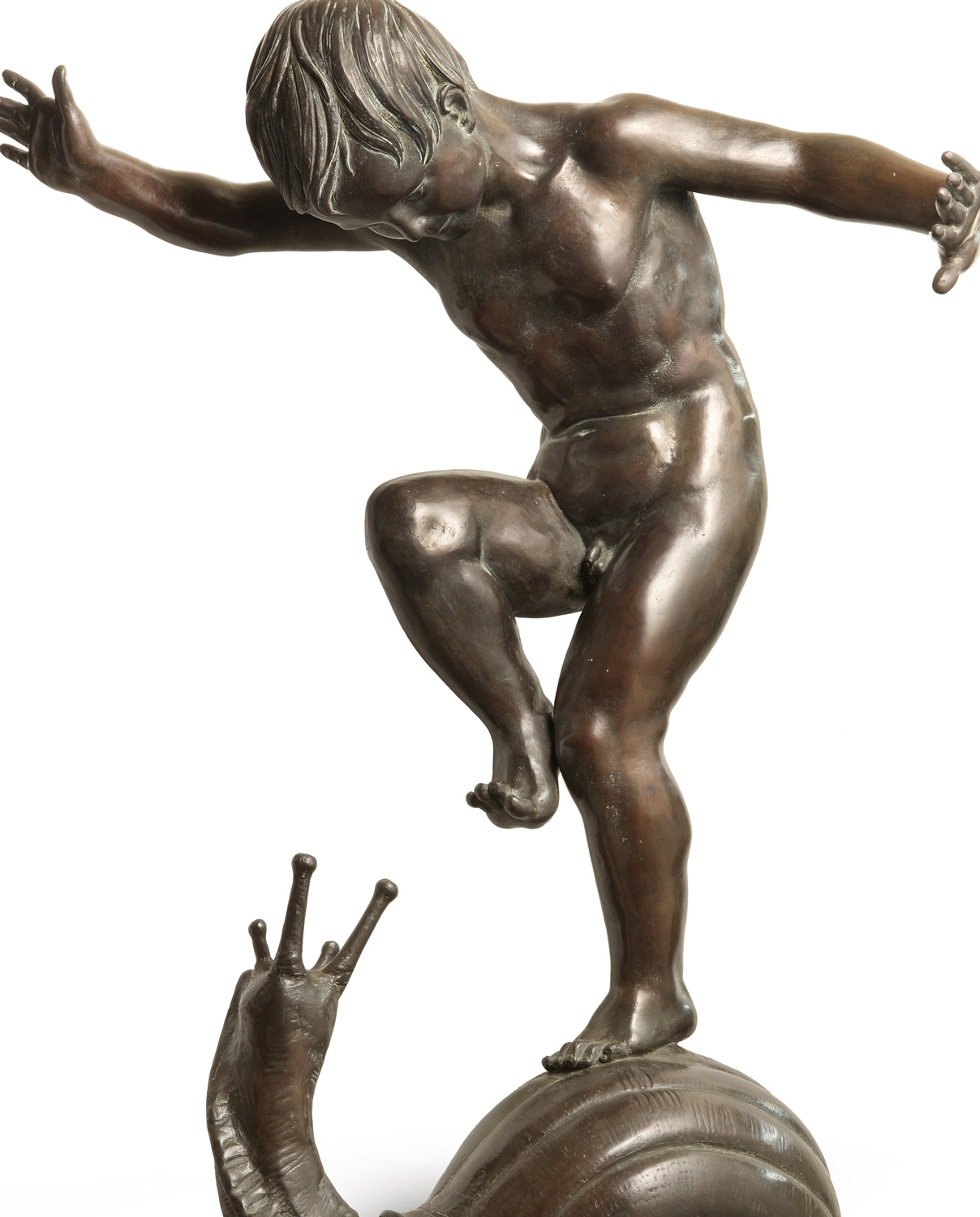 Boy on the Snail by Cappelletti. Bronze sculpture for sale, Pietro Bazzanti Art Gallery, Florence, Italy