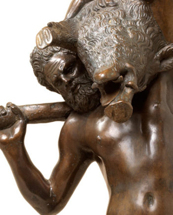 Hercules with Wild Boar by Giambologna. Bronze sculpture for sale, Pietro Bazzanti Art Gallery, Florence, Italy