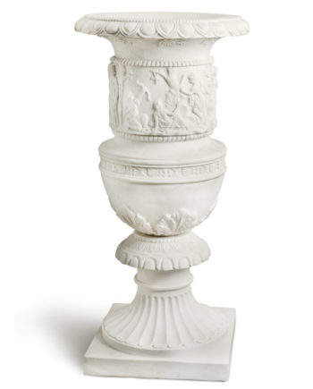 decorated hand carved vase. Marble sculpture for sale, Pietro Bazzanti Art Gallery, Florence, Italy