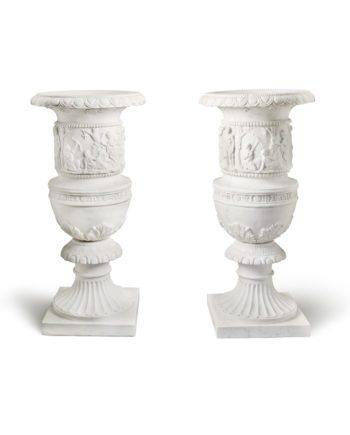 Decorated vases. Marble sculpture for sale, Pietro Bazzanti Art Gallery, Florence, Italy