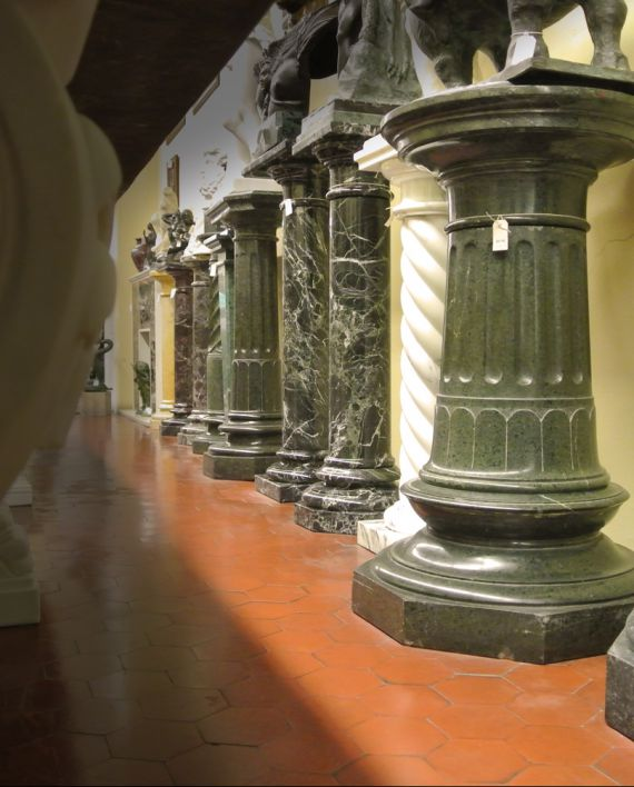 marble pedestals. Marble sculpture for sale, Pietro Bazzanti Art Gallery, Florence, Italy