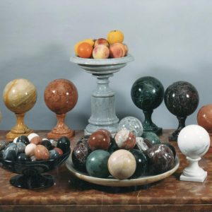 marble eggs, spheres, fruits. Marble sculptures for sale, Pietro Bazzanti Art Gallery, Florence, Italy