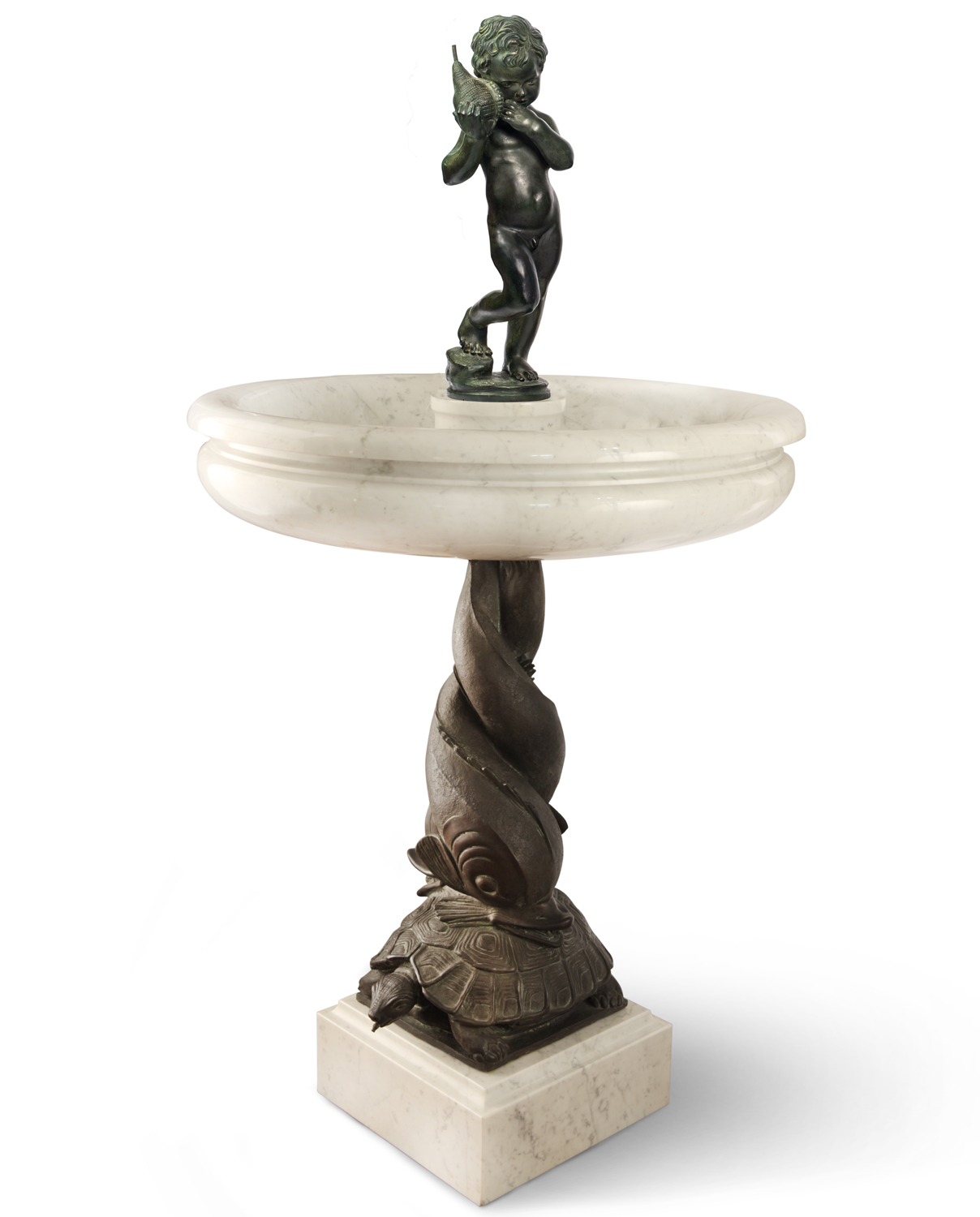 Dolphin on turtle fountain. Bronze and marble fountain for sale, Pietro Bazzanti Art Gallery, Florence, Italy