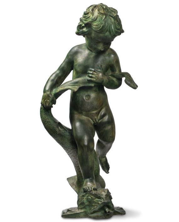 putto-top-fontana-bronzo-su-pesce