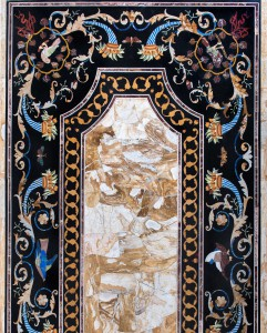 Inlaid decorated table. Bronze and marble for sale, Pietro Bazzanti Art Gallery, Florence, Italy