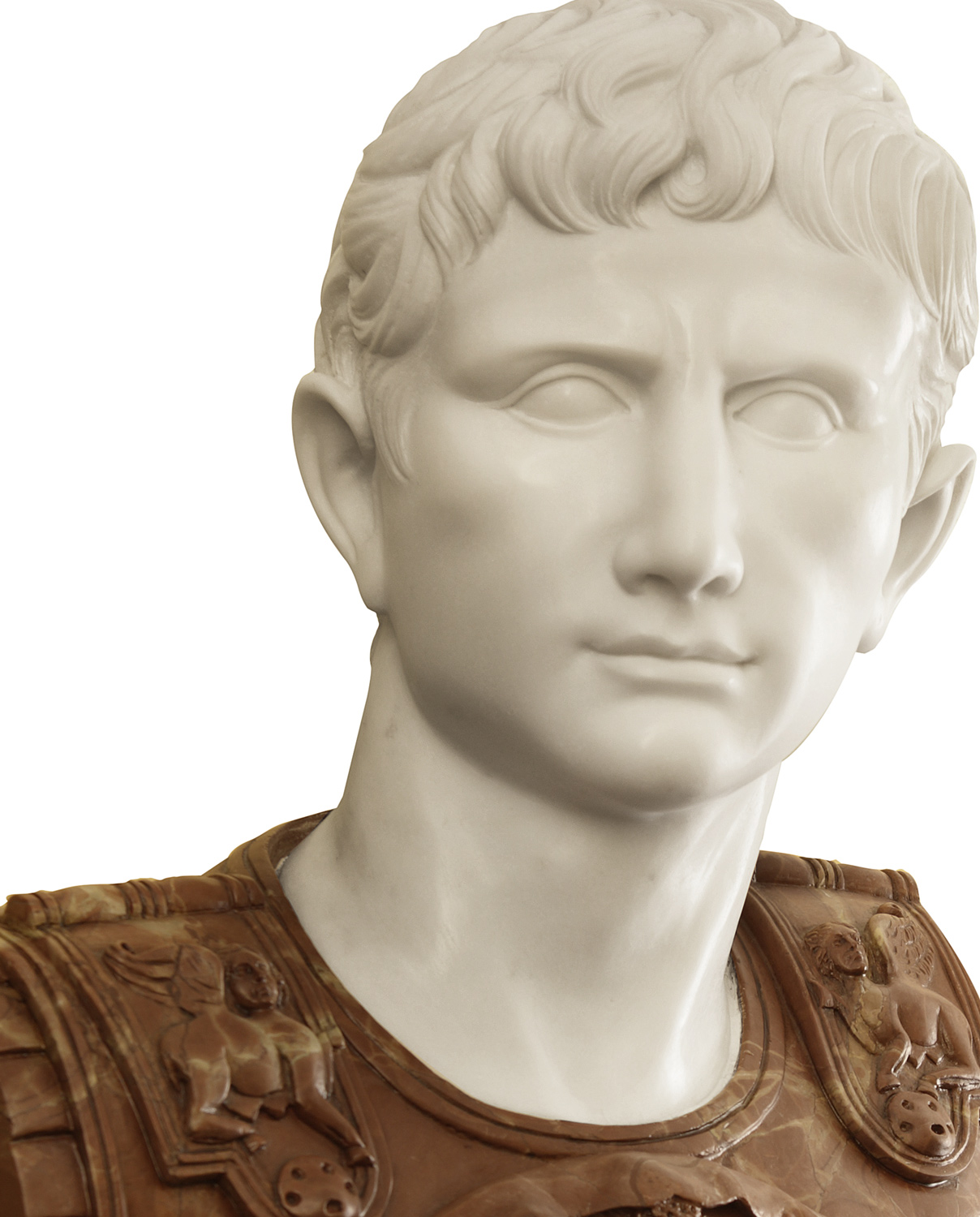 Caesar Augustus bust. Marble sculpture for sale, Pietro Bazzanti Art Gallery, Florence, Italy