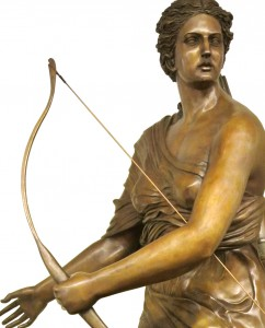 Diana Huntress. Bronze sculpture for sale, Pietro Bazzanti Art Gallery, Florence, Italy