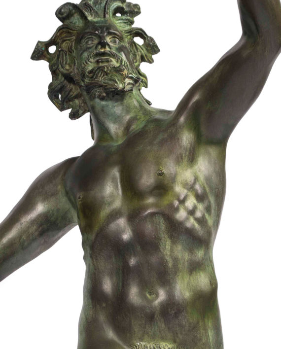 Dancing faun of Pompeii. Bronze sculpture for sale, Pietro Bazzanti Art Gallery, Florence, Italy