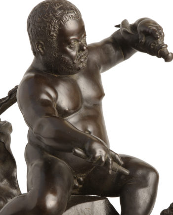 Morgante on drake by Giambologna. Bronze sculpture for sale, Pietro Bazzanti Art Gallery, Florence, Italy