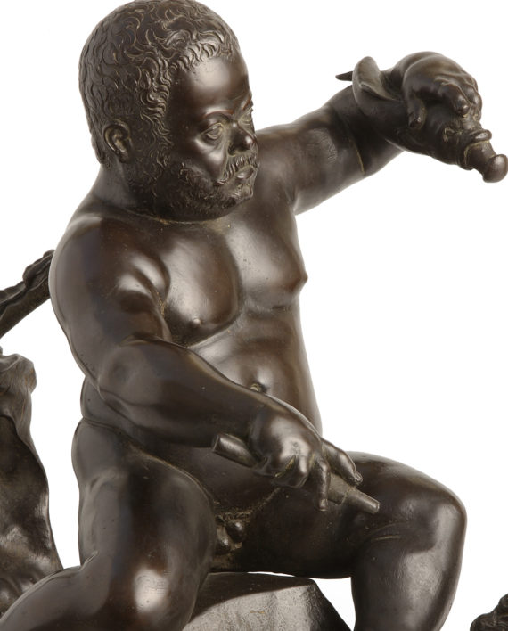 Morgante on drake by Giambologna. Bronze sculpture for sale, Pietro Bazzanti Art Gallery, Florence, Italy