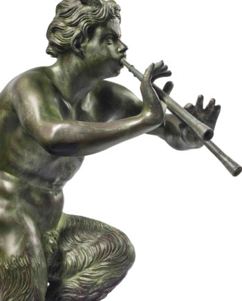 Pan with flutes of Pompeii. Bronze sculpture for sale, Pietro Bazzanti Art Gallery, Florence, Italy