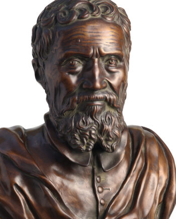 Bust of Michelangelo by D. Da Volterra. Bronze sculpture for sale, Pietro Bazzanti Art Gallery, Florence, Italy