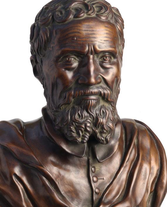 Bust of Michelangelo by D. Da Volterra. Bronze sculpture for sale, Pietro Bazzanti Art Gallery, Florence, Italy