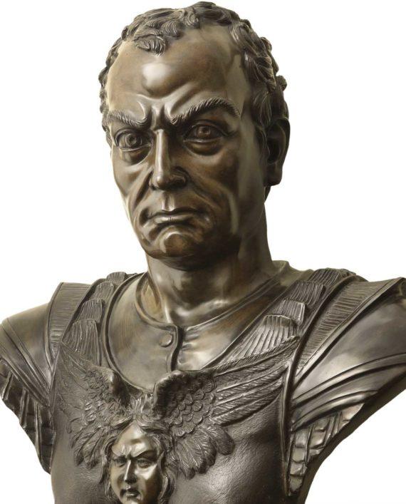 scultura in bronzo, busto di gattamelata di Donatello, fusione a cera persa eseguita dalla fonderia artistica ferdinando marinelli, in vendita presso la Galleria Bazzanti di Firenze