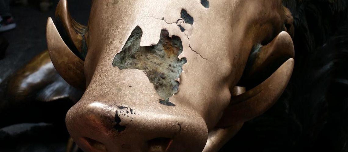 Il muso del Porcellino danneggiato