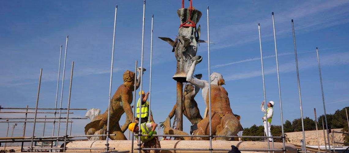 fonderia marinelli galleria bazzanti fontana tritoni malta bronzo restauro smontaggio troncone