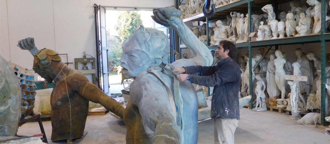 fonderia marinelli galleria bazzanti fontana tritoni malta bronzo restauro arrivo in fonderia