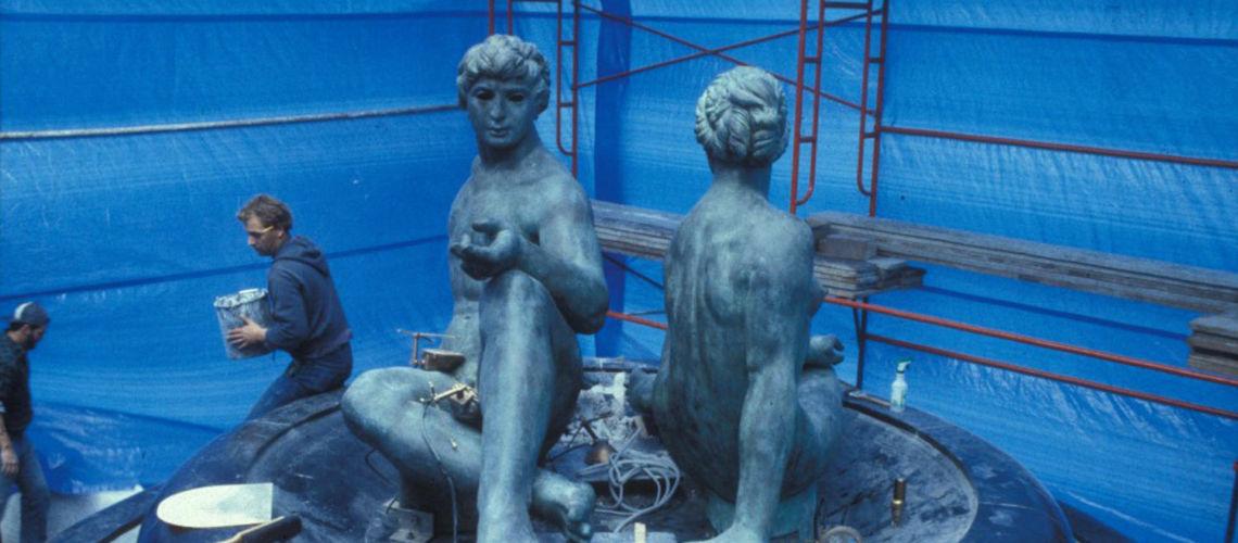 galleria bazzanti fonderia marinelli firenze sergio banvenuti fontana due oceani bronzo san diego usa montaggio