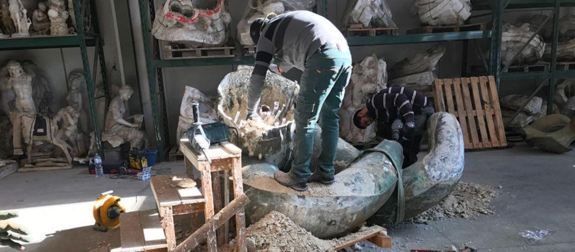 galleria bazzanti fonderia marinelli firenze restauro fontana tritoni in bronzo malta danni