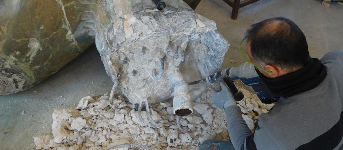 galleria bazzanti fonderia marinelli firenze restauro fontana tritoni in bronzo malta cemento