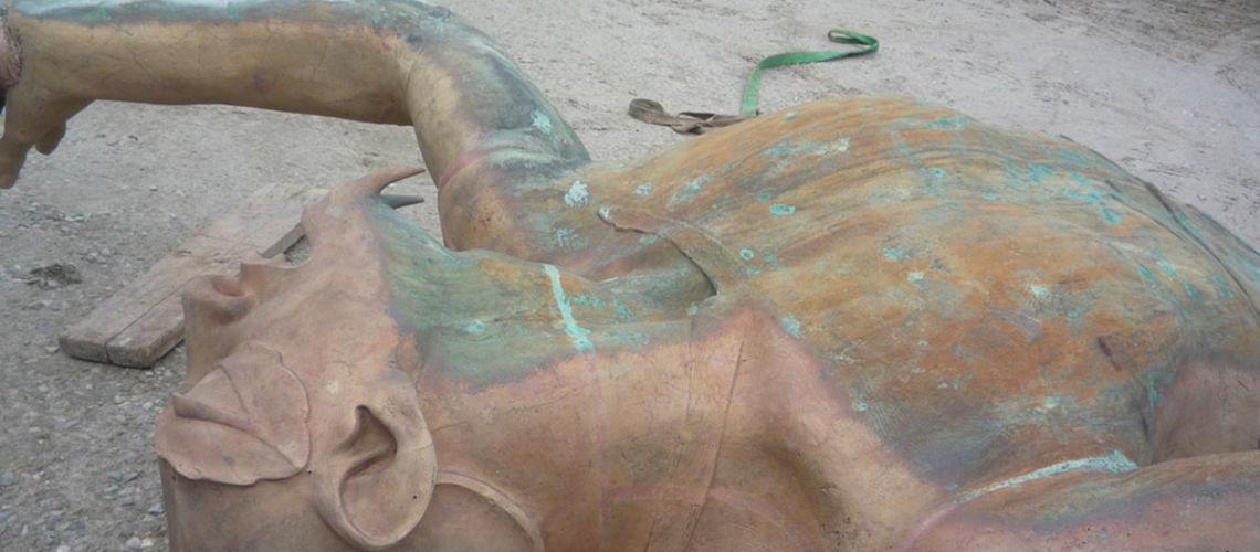 galleria bazzanti fonderia marinelli firenze restauro fontana tritoni in bronzo malta micro sabbiatura