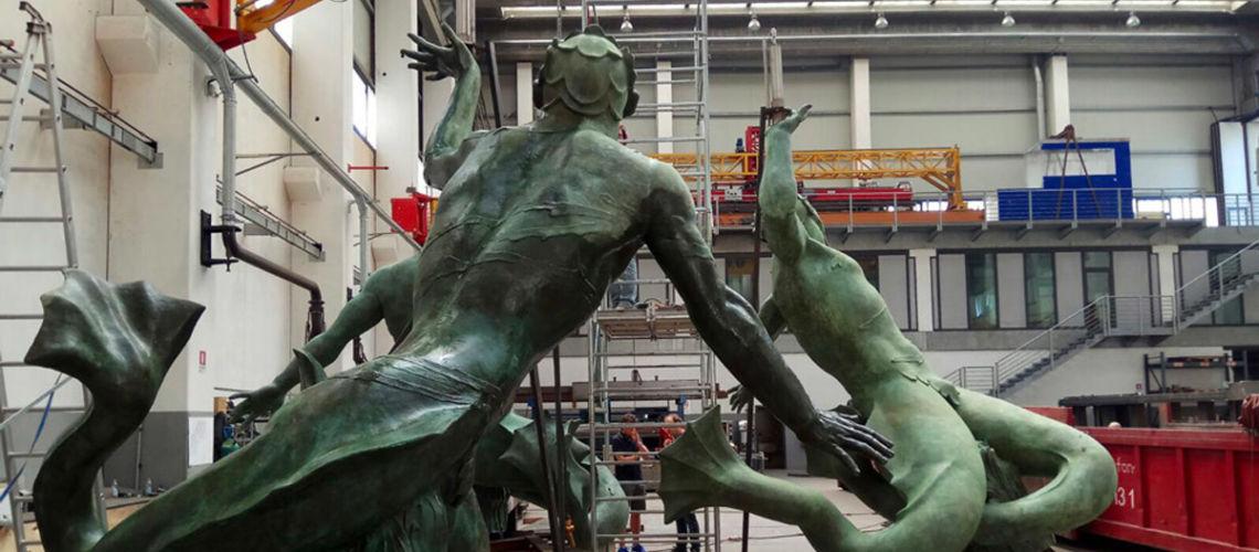 galleria bazzanti fonderia marinelli firenze restauro fontana tritoni in bronzo malta patina