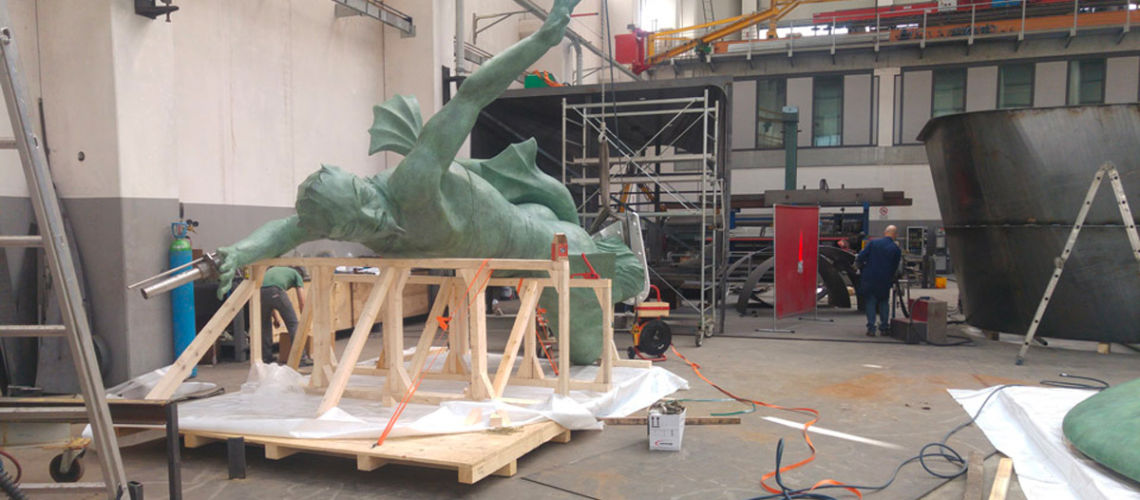 galleria bazzanti fonderia marinelli firenze restauro fontana tritoni in bronzo malta imballaggio
