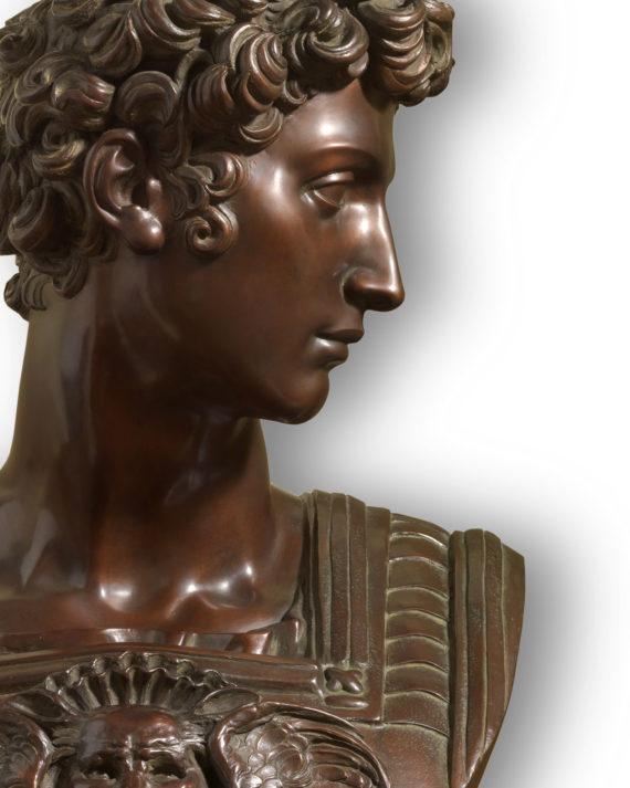 replica scultura in bronzo busto giuliano de medici di michelangelo delle cappelle medicee di san lorenzo firenze eseguito dalla fonderia marinelli in vendita presso la galleria bazzanti