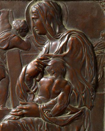 madonna della scala di michelangelo bassorilievo in bronzo replica dell'originale fuso dalla fonderia marinelli e in vendita presso la galleria bazzanti di firenze