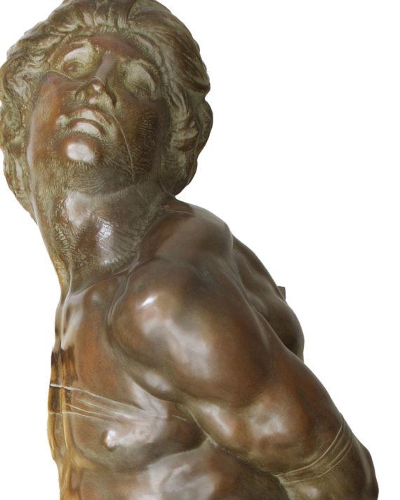 replica in bronzo scultura schiavo ribelle di Michelangelo fusa dalla fonderia marinelli in vendita presso la galleria bazzanti