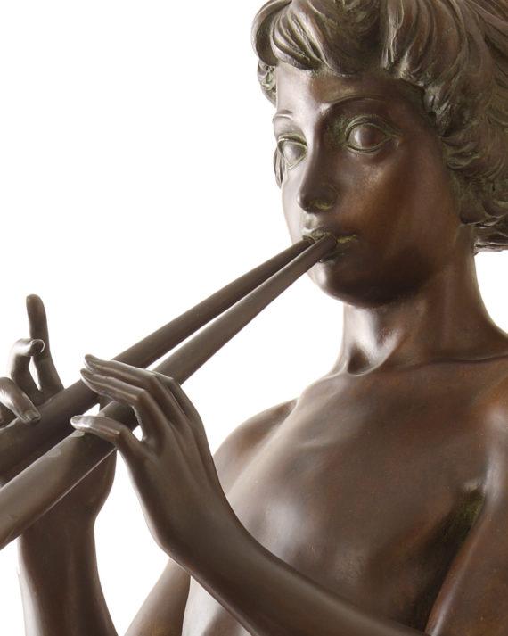 galleria bazzanti fonderia marinelli firenze scultura in bronzo pan con pifferi di sergio benvenuti in vendita