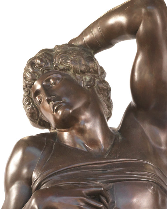 schiavo morente del michelangelo replica in bronzo fusa dalla fonderia artistica ferdinando marinelli di firenze in vendita presso la galleria bazzanti di firenze