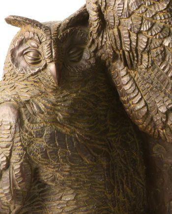 replica in bronzo scultura gufi di sirio tofanari eseguita dalla fonderia artistica ferdinando marinelli di firenze in edizione limitata in vendita presso la galleria bazzanti di firenze