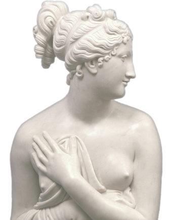 scultura in marmo bianco di carrara scolpito a mano raffigurante la venere italica del canova realizzata e in vendita presso la galleria bazzanti di firenze